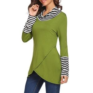 Olive green striped cowl neck long sleeve small